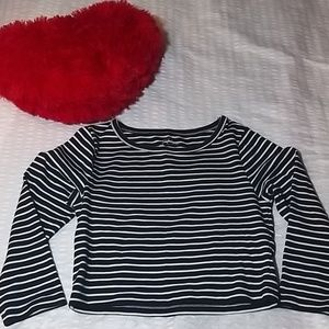 J Crew Navy and White Striped 3/4 sleeves top